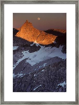 Usa, Sawtooth Peak, Sunset, Moonrise Framed Print
