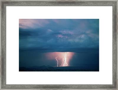 Usa, Utah, Thunderstorm Over Cathedral Framed Print