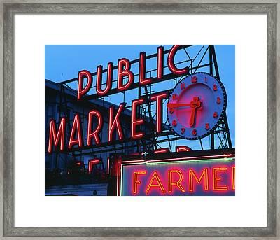 Usa, Washington State, Seattle, View Framed Print by Walter Bibikow