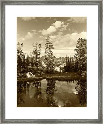 Usa, Wyoming, Landscape With Reflection Framed Print