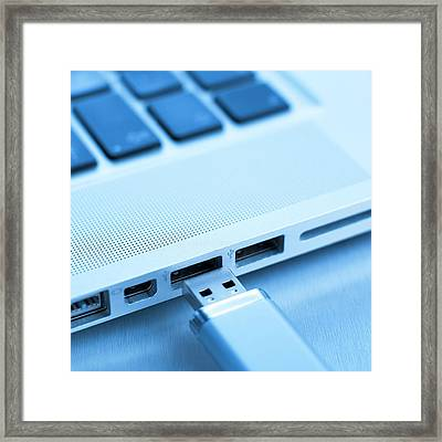 Usb Memory Stick And Laptop Framed Print by Science Photo Library