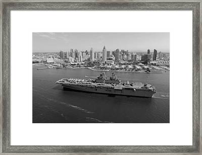 Uss Boxer In San Diego  Framed Print