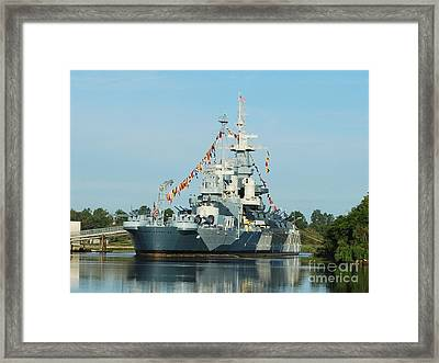 Uss North Carolina Battleship Framed Print