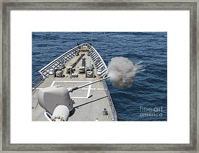 Uss Philippine Sea Fires Its Mk-45 Framed Print by Stocktrek Images
