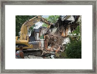 Vacant Home Demolition Framed Print