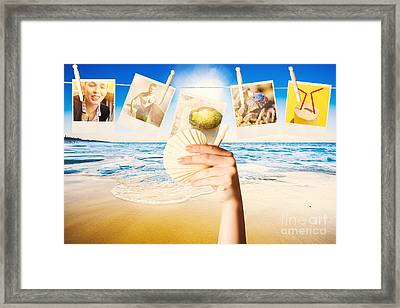 Vacation Woman With Photos From Summer Holiday Framed Print by Jorgo Photography - Wall Art Gallery