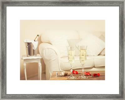 Valentines Day Champagne Framed Print by Amanda Elwell