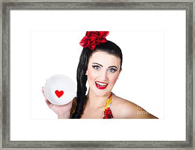 Valentines Day Dining Woman. I Love Food Concept Framed Print by Jorgo Photography - Wall Art Gallery