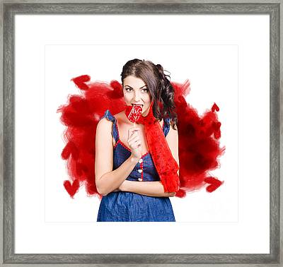 Valentines Day Woman Eating Heart Candy Framed Print