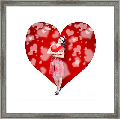 Valentines Day Woman Holding Love Heart Card Framed Print by Jorgo Photography - Wall Art Gallery