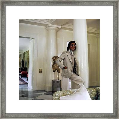 Valentino Wearing A Suit Framed Print