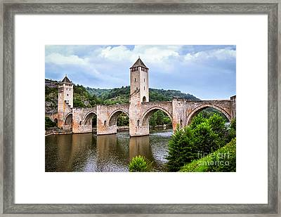Valentre Bridge In Cahors France Framed Print