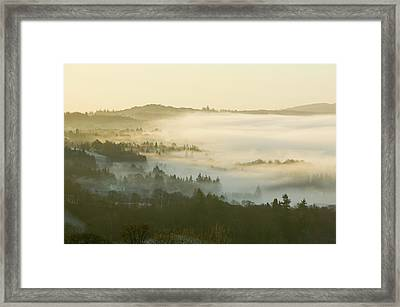 Valley Mist Over Windermere At Dawn Framed Print by Ashley Cooper
