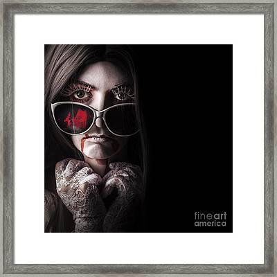 Vampire In The Dark. Horror Fashion Portrait Framed Print by Jorgo Photography - Wall Art Gallery
