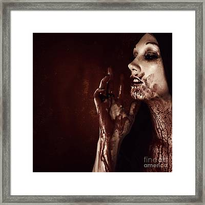Vampire Woman Touching Tasting And Smelling Blood Framed Print