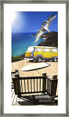 Van And Surf Board At Beach Framed Print by Jorgo Photography - Wall Art Gallery
