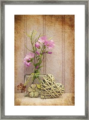 Van Gogh Style Digital Painting Beautiful Flower In Vase With Heart Still Life Love Concept Framed Print by Matthew Gibson