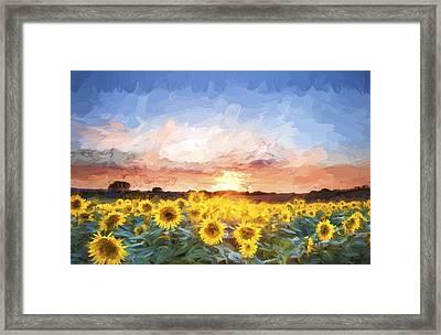 Van Gogh Style Digital Painting Sunflower Summer Sunset Landscape With Blue Skies Framed Print