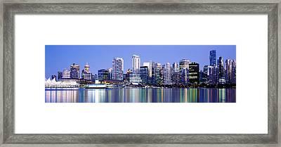 Vancouver Skyline At Night, British Framed Print