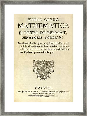 Varia Opera Mathematica By Pierre Fermat Framed Print