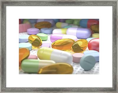Variety Of Drugs Framed Print by Ktsdesign