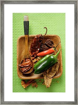 Various Dried And Fresh Chili Peppers Framed Print