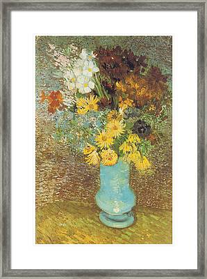 Vase With Daisies And Anemones Framed Print