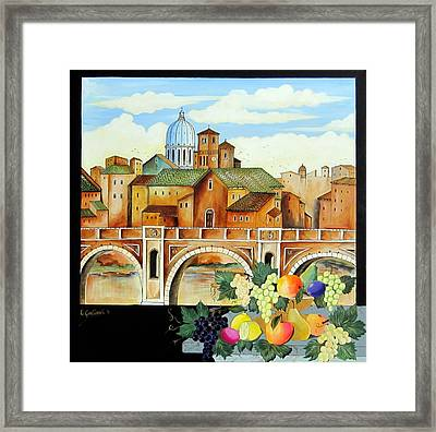 Framed Print featuring the painting Vecchia Roma by Roberto Gagliardi
