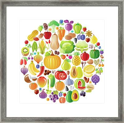 Vegetarian Rainbow Plate Withe Fruits Framed Print by O-che