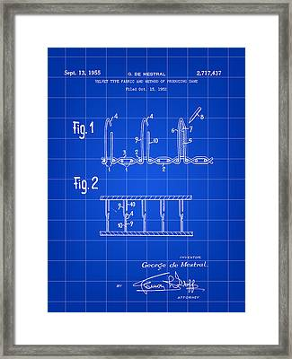 Velcro Patent 1952 - Blue Framed Print by Stephen Younts