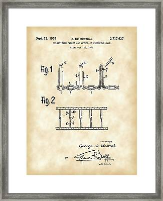 Velcro Patent 1952 - Vintage Framed Print by Stephen Younts