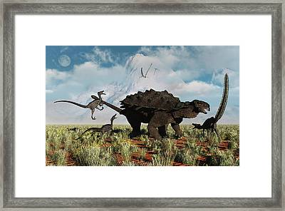 Velociraptors Attacking An Armored Framed Print