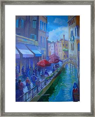 Framed Print featuring the painting Venice  Italy by Paul Weerasekera