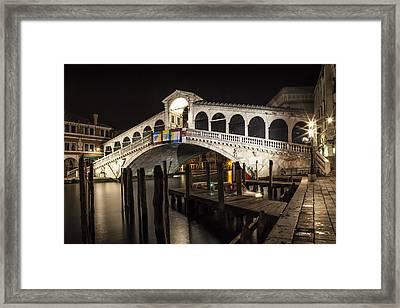 Venice Rialto Bridge At Night  Framed Print by Melanie Viola