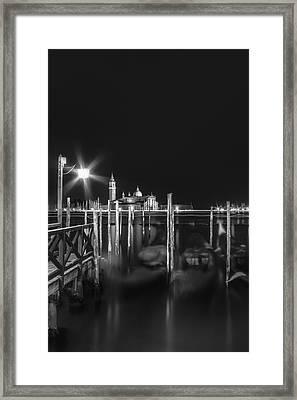 Venice San Giorgio Maggiore At Night Black And White Framed Print by Melanie Viola