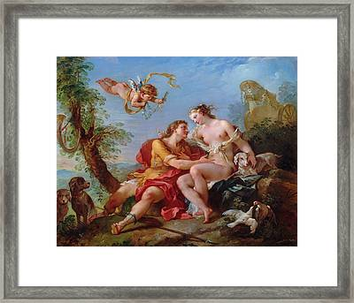 Venus And Adonis Framed Print by Charles-Joseph Natoire