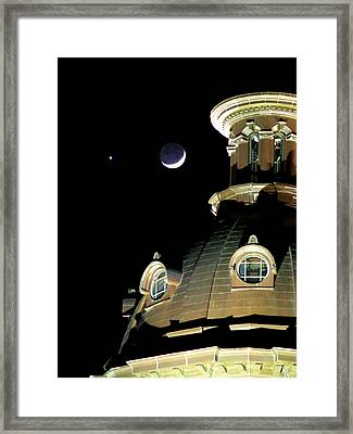 Venus And Crescent Moon-1 Framed Print