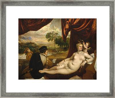 Venus And The Lute Player Framed Print by Titian