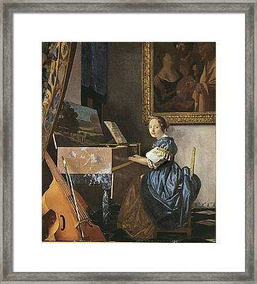 Vermeer, Johannes 1632-1675. A Young Framed Print by Everett