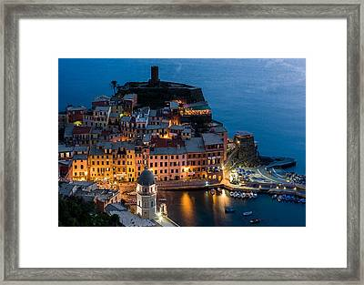 Framed Print featuring the photograph Vernazza Harbor by Carl Amoth