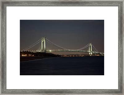 1 Verrazano Narrows Bridge At Twilight Framed Print