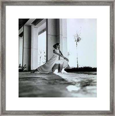 Veruschka Wearing Oscar De La Renta Pajamas Framed Print by Franco Rubartelli