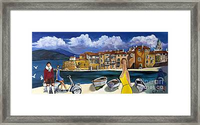 Vespa And French Cove Framed Print