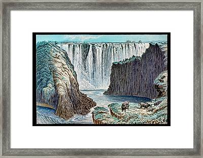 Victoria Falls Buffalo Framed Print by Gustoimages/science Photo Libbrary