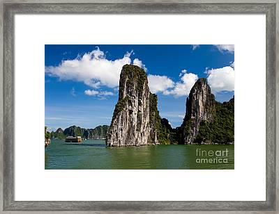 Vietnamese Junk Cruising On Halong Bay Vietnam Framed Print