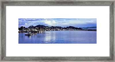View Of City At Waterfront, Morro Bay Framed Print