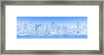 View Of Skylines In A City, Manhattan Framed Print