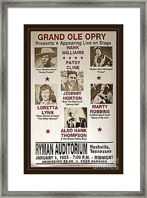 Vintage 1953 Grand Ole Opry Poster Framed Print