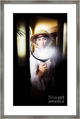 Vintage Archaeologist With Large Magnifying Glass Framed Print