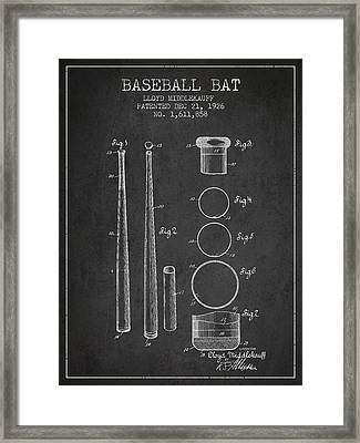Vintage Baseball Bat Patent From 1926 Framed Print